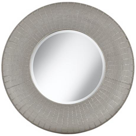 "Pounded Metal 35"" High Round Wall Mirror"