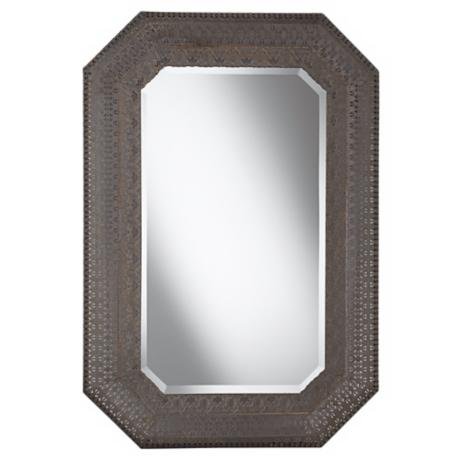 "Cut Corner Pounded Metal 37"" High Wall Mirror"