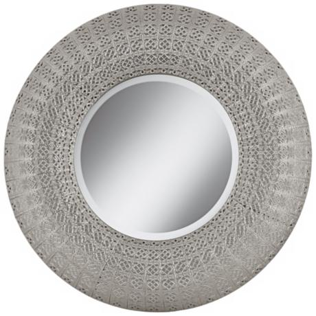 "Pounded Metal 29"" High Rounded Wall Mirror"