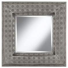 "Pounded Metal 29 1/4"" High Square Wall Mirror"