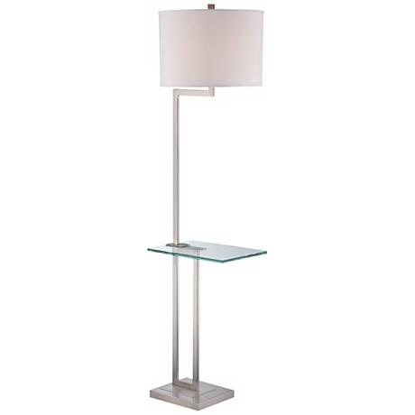 Polished steel floor lamp with glass tray table for Floor lamp with gallery tray