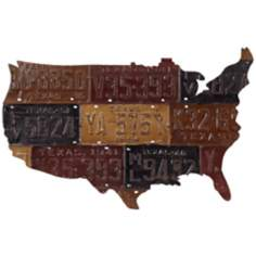 "U.S. Map 34 3/4"" Wide License Plate Metal Wall Art"