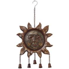 "Bells on the Sun 21"" High Painted Metal Wall Art"