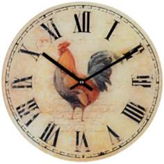 "Rooster 12"" Wide Decorative Wall Clock"