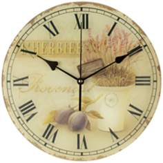 "Olives and Herbs 12"" Wide Round Wall Clock"