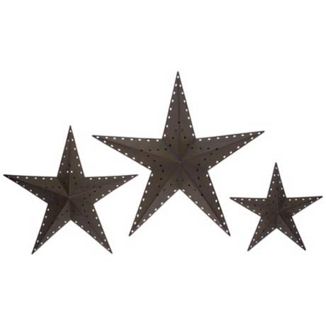 Punched Bronze Metal Star Wall Decor Set of 3