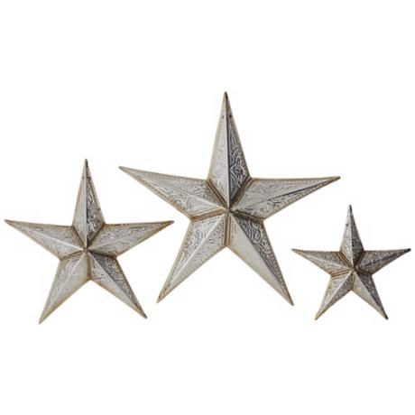 Silver Tin Stars Wall Decor Set of 3