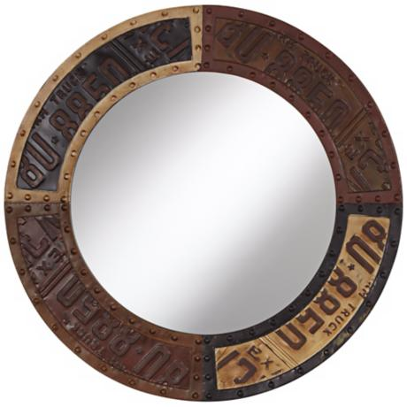 "Metal License Plate 28"" High Round Wall Mirror"