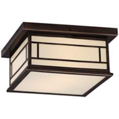 "Robert Abbey Candler 13"" W Ecru Bronze Ceiling Light"