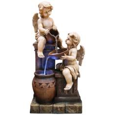 Two Cherubs LED Fountain