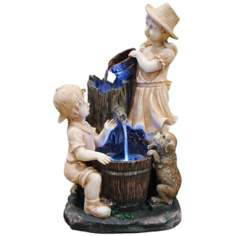 Tiered LED Children Playing Fountain