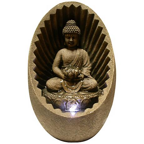 Buddha Sunburst Tabletop Zen Fountain with LED Light