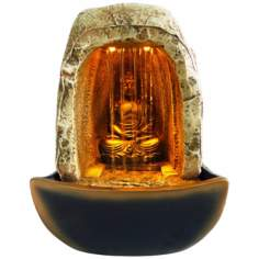 Buddha Waterfall LED Table Fountain