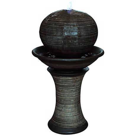 Dark Sphere LED Pillar Floor Fountain