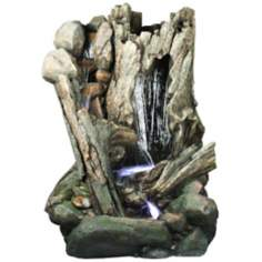Log Cascade Large LED Fountain