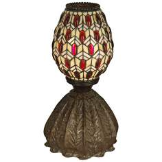 Dale Tiffany Jeweled Peacock Art Glass Accent Lamp