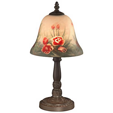 Dale Tiffany Rose Bell Hand-Painted Art Glass Accent Lamp