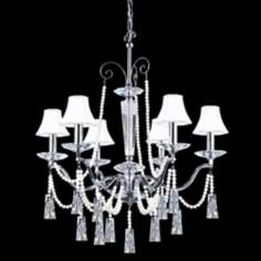 "James R. Moder 31"" Wide Crystal and White Shades Chandelier"