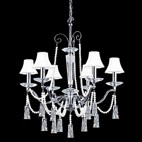 "James R. Moder 29"" Wide Crystal and White Shades Chandelier"