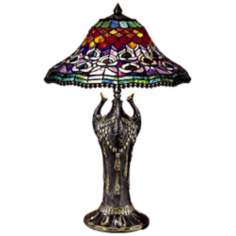 Dale Tiffany Peacock Tail Replica Art Glass Table Lamp