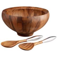 Nambe Yaro 4 Quart Wood Salad Bowl with Servers Set of 3