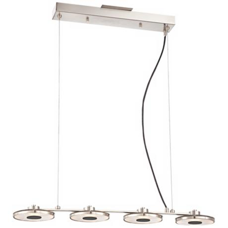 "Array 28"" Wide 4-Light Brushed Nickel LED Island Pendant"