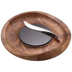 Nambe Butterfly Wood Cheese Tray with Knife