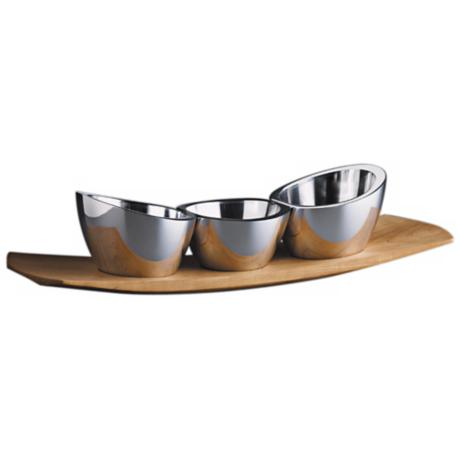 Nambe Silver Condiment Trio Set