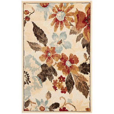 Paradise Collection PAR148C Floral Area Rug