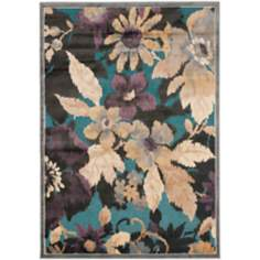 "Paradise Collection PAR148B 4'x5'7"" Dark Floral Area Rug"
