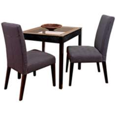 Set of 2 Charcoal Fabric Dining Chairs