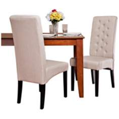 Set of 2 Tufted Natural Linen Dining Chairs