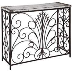 Parcel Collection Distressed White Console Table