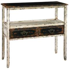 Parcel Collection 2-Drawer Distressed White Console Table