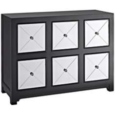 Sergey Mirrored 6-Drawer Black Wood Console Chest