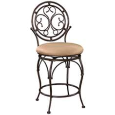 "Big and Tall Scroll Circle Back 24"" Bronze Counter Stool"