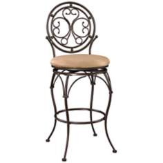 "Big and Tall Scroll Circle Back 30"" Bronze Bar Stool"