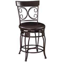 "Big and Tall Back to Back Scroll 24"" Black Counter Stool"