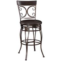 "Big and Tall Back to Back Scroll 30"" Datk Brown Bar Stool"