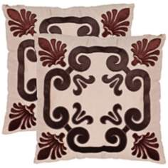 "Set of 2 Monacelli Chocolate Brown 18"" Safavieh Pillows"