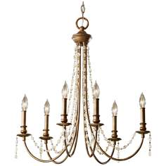 "Murray Feiss Aura 27"" Wide Rustic Silver Chandelier"