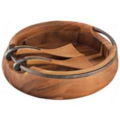 Nambe Anvil Acacia Wood Salad Bowl with Servers