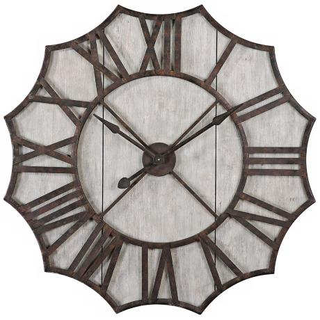 "Uttermost Elliston 40"" High Wood and Metal Wall Clock"
