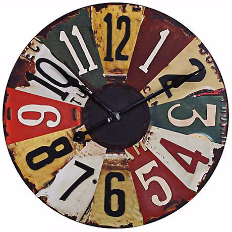 "Uttermost Vintage License Plates 29"" Wide Wall Clock"
