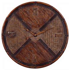 "Uttermost Jilin 32"" Wide Rattan and Bamboo Wall Clock"