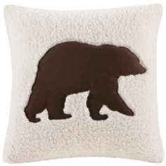 Woolrich Hadley Bear Motif Plaid Accent Pillow