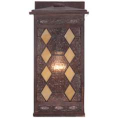 "Tiffany Glass 12"" High Solar Bronze Outdoor Wall Light"