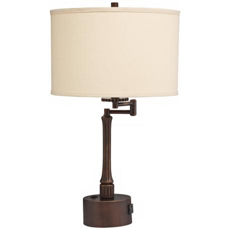 Kichler Burnet Coppery Bronze Swing Arm Outlet Desk Lamp