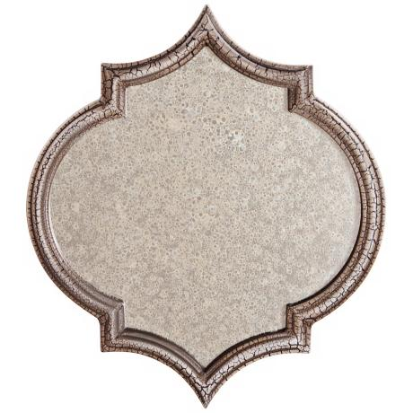 "Tensift Beige 13"" High Antiqued Glass Mirror"