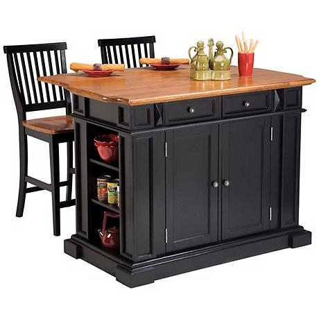 Black and Distressed Oak Kitchen Island and Stool Set